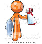 Cartoon Vector of Orange Guy Cleaning with a Spray Bottle and Cloth by Leo Blanchette