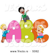Cartoon Vector of School Kids Playing on Alphabet a B C Letters by BNP Design Studio