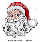 Cartoon Vector of Smiling Santa Claus Face with Hat and Beard by AtStockIllustration