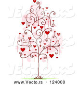 Cartoon Vector of Tree with Red Heart and Spiral Foliage by BNP Design Studio
