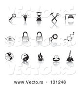 Collection Vector of Black Random Icons on a Reflective White Background by Rasmussen Images