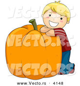 Halloween Vector of a Happy Cartoon Boy Leaning on Giant Pumpkin with Big Smile on His Face by BNP Design Studio