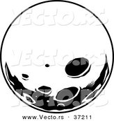 Retro Vector of Moon with Deep Craters - Black and White Line Art by Lawrence Christmas Illustration