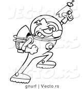 Vector Line Drawing of a Super Hero Cartoon Astronaut Aiming a Ray Gun by Gnurf