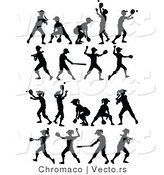 Vector of 18 Unique Boys and Girls Playing Baseball and Softball - Silhouette by Chromaco