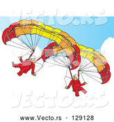 Vector of 2 Paragliders in the Sky by Snowy