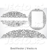 Vector of 3 Leafy Border Frames, Headers and Text Boxes - Black and White Digital Collage by BestVector