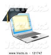 Vector of 3d Diploma or Degree on a Laptop Screen with a Graduation Cap by AtStockIllustration