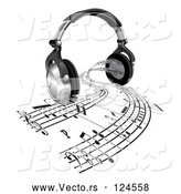 Vector of 3d Headphones with Sheet Music Streaming from Speakers by AtStockIllustration