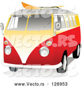 Vector of 3d Orange and Yellow VW Van with a Surf Board on the Roof by Toonster