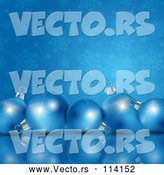 Vector of 3d Row of Christmas Baubles on a Reflective Surface over Blue and Snowflakes by KJ Pargeter
