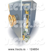 Vector of 3d Safe with Money and Gold Falling out by AtStockIllustration