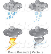 Vector of 4 Bad Weather Man Icons: Cloud Raining, Snowing, Lightning Strikes, and a Tornado by Paulo Resende
