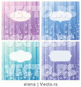 Vector of 4 Unique Blank Copyspace Background Design with Stripes and Swirls by Elena