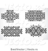 Vector of 4 Unique Floral Icon Patterns - Decorative Black and White Web Design Elements by BestVector