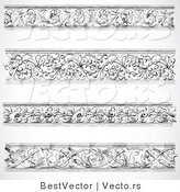 Vector of 4 Unique Ornamental Vines - Black and White Digital Collage Borders by BestVector
