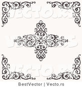 Vector of 5 Unique Floral Border Corners and Digital Web Design Elements by BestVector