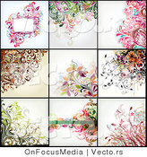 Vector of 9 Floral Background Design - Digital Collage Version 3 by OnFocusMedia