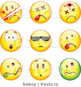 Vector of 9 Smileys; Killed, Bullet to the Head, Shocked, Cool, Ill, Upset by Beboy