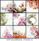 Vector of 9 Unique Floral Backgrounds - Digital Collage Version 2 by OnFocusMedia