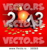 Vector of a 3d 2013 with the 0 Designed As a Christmas Bauble over Red Background by Oligo
