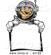 Vector of a American Cartoon Astronaut Holding a Blank Sign by Chromaco