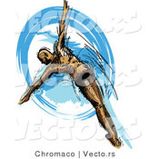 Vector of a Athletic Male Swimmer Diving into Blue Water by Chromaco