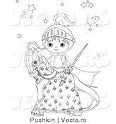 Vector of a Baby Knight on a Horse - Coloring Page by Pushkin