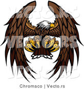 Vector of a Bald Eagle Mascot Reaching out with Talons During Flight by Chromaco
