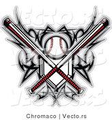 Vector of a Baseball and Home Plate with Crossed BatsBaseball and Home Plate with Crossed BatsBaseball and Home Plate with Crossed Bats - Coloring Page Outline by Chromaco