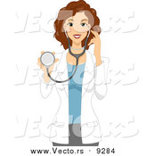 Vector of a Beautiful Brunette Caucasian Female Doctor or Veterinarian Holding a Stethoscope by BNP Design Studio