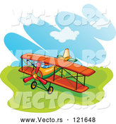 Vector of a Biplane in a Field by Graphics RF