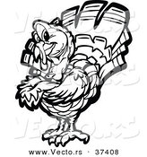 Vector of a Black and White Turkey Mascot with Folded Arms - Line Art by Chromaco