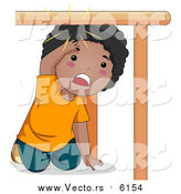 Vector of a Black Boy Bonking His Head Under a Table by BNP Design Studio