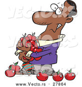 Vector of a Black Businessman with Lots of Red Apples - Cartoon Design by Toonaday