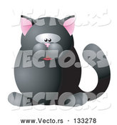 Vector of a Black Cat with Pink Ears by AtStockIllustration