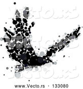 Vector of a Black Crow or Raven Confidently Flying - Ink Blot Theme by AtStockIllustration