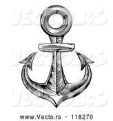 Vector of a Boat Anchor - Black and White Engraved Theme by AtStockIllustration