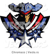 Vector of a Brave American Patriot Mascot with Stars by Chromaco