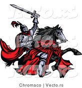Vector of a Brave Medieval Knight Rearing up on His Black Horse While Holding a Sword into the Air by Chromaco