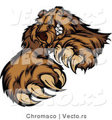 Vector of a Brown Bear Stiking with Claws While Grinning - Coloring Page Outline by Chromaco