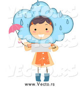 Vector of a Brunette White Stick Girl Reading a Rainy Weather Forecast by BNP Design Studio