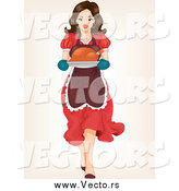 Vector of a Brunette White Woman Carrying a Roasted Turkey by BNP Design Studio