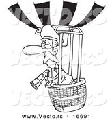 Vector of a Cartoon Balloonist Using a Telescope - Outlined Coloring Page Drawing by Toonaday