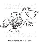 Vector of a Cartoon Bear Stealing a Picnic Basket - Outlined Coloring Page by Toonaday