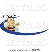 Vector of a Cartoon Bee Mascot Beside Blue Icon by Toons4Biz