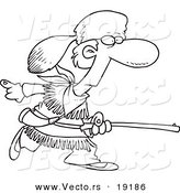 Vector of a Cartoon Black and White Outline Design of Davey Crocket Hunting - Outlined Coloring Page by Toonaday