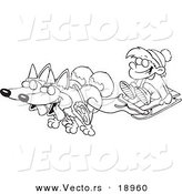 Cartoon Black And White Outline Design Of Huskies Pulling A Boy On Sled