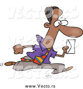 Vector of a Cartoon Black Business Man Running with an Envelope by Toonaday