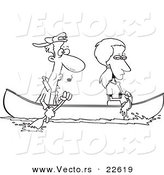 Vector of a Cartoon Boat As Her Boyfriend Rows - Coloring Page Outline by Toonaday